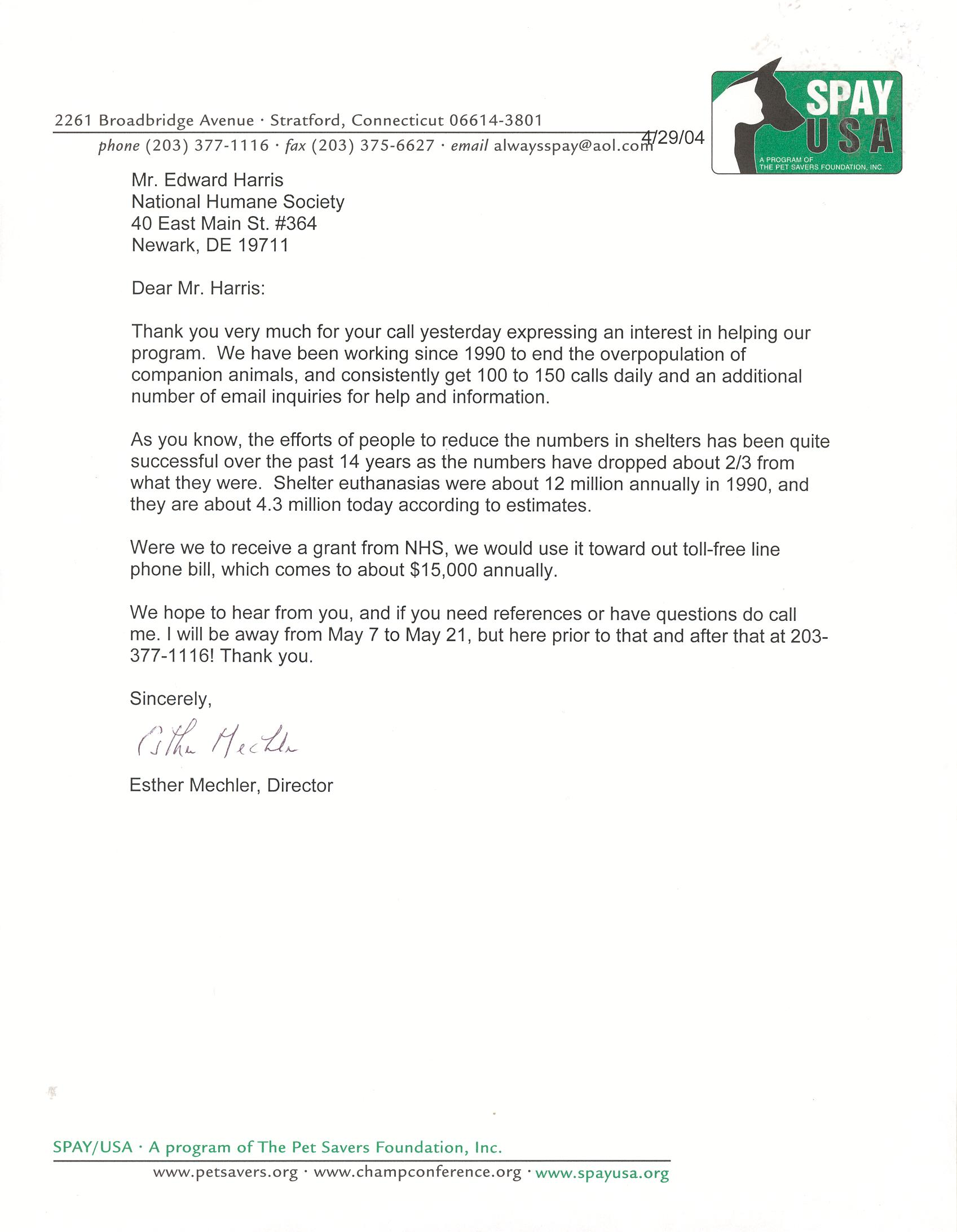 Spay USA Letter